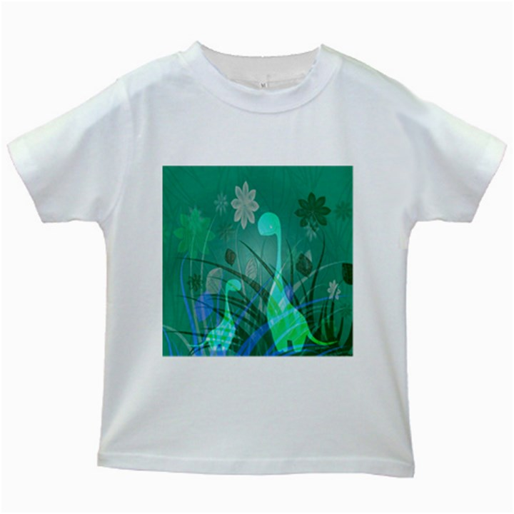 Dinosaur Family - Green - Kids White T-Shirts