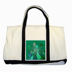 Dinosaur Family   Green   Two Tone Tote Bag by WensdaiAddamns