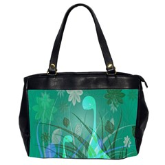 Dinosaur Family   Green   Oversize Office Handbag (2 Sides) by WensdaiAddamns