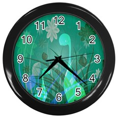 Dinosaur Family   Green   Wall Clock (black) by WensdaiAddamns