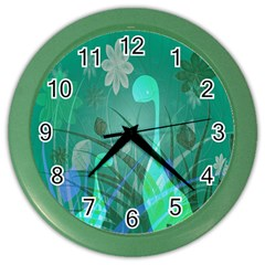 Dinosaur Family   Green   Color Wall Clock by WensdaiAddamns