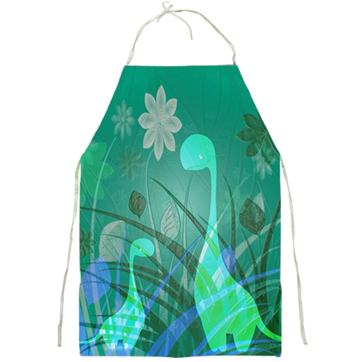 Dinosaur Family - Green - Full Print Aprons