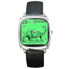 Dinoland Stamp   Square Metal Watch by WensdaiAddamns