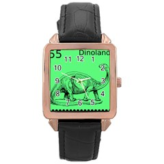 Dinoland Stamp   Rose Gold Leather Watch  by WensdaiAddamns