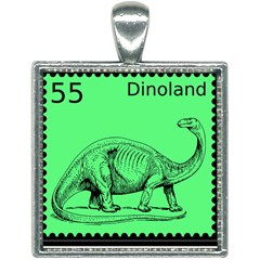 Dinoland Stamp   Square Necklace by WensdaiAddamns