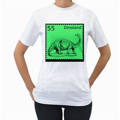Dinoland Stamp   Women s T Shirt (white) (two Sided) by WensdaiAddamns