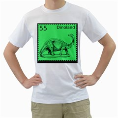 Dinoland Stamp   Men s T Shirt (white) (two Sided) by WensdaiAddamns