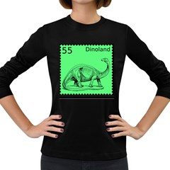 Dinoland Stamp   Women s Long Sleeve Dark T Shirt by WensdaiAddamns