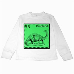 Dinoland Stamp   Kids Long Sleeve T Shirts by WensdaiAddamns
