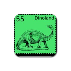 Dinoland Stamp   Rubber Square Coaster (4 Pack)  by WensdaiAddamns