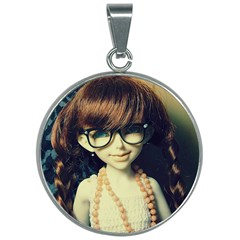 Red Braids Girl Old 30mm Round Necklace by snowwhitegirl