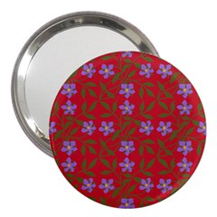 Red With Purple Flowers 3  Handbag Mirrors