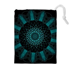 Ornament District Turquoise Drawstring Pouch (xl)