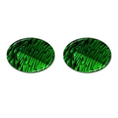 Fractal Rendering Background Green Cufflinks (oval)
