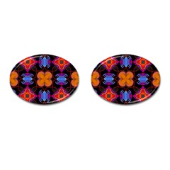 Ornament Colorful Color Background Cufflinks (oval)