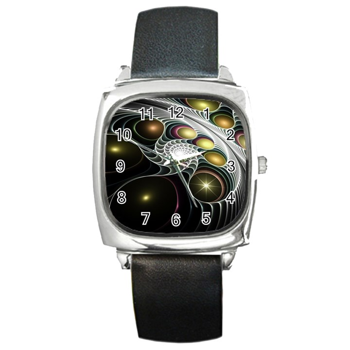 Fractal Bulbs Fantasy Curve Square Metal Watch