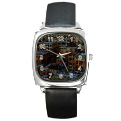 Building Ruins Old Industry Square Metal Watch by Pakrebo