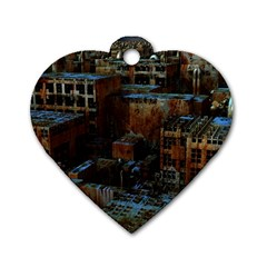 Building Ruins Old Industry Dog Tag Heart (one Side)