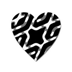 Giant Bold Dark Geometric Print Heart Magnet by dflcprintsclothing