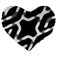 Giant Bold Dark Geometric Print Large 19  Premium Heart Shape Cushions