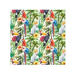 Tropical Parrots Pattern Small Satin Scarf (square)