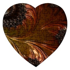 Fractal Copper Copper Color Leaf Jigsaw Puzzle (heart)