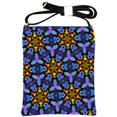 Blue Flowers Wallpaper Backgrounds Shoulder Sling Bag