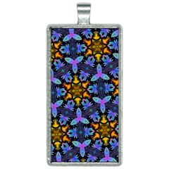 Blue Flowers Wallpaper Backgrounds Rectangle Necklace