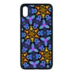 Blue Flowers Wallpaper Backgrounds Apple Iphone Xs Max Seamless Case (black)