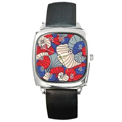 Traditinal Japanese Art Square Metal Watch by tarastyle