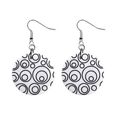 Abstract Black On White Circles Design Mini Button Earrings by LoolyElzayat