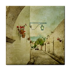 Vintage Grunge Print Arequipa Street, Peru Tile Coasters by dflcprintsclothing