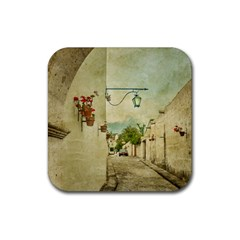 Vintage Grunge Print Arequipa Street, Peru Rubber Coaster (square)  by dflcprintsclothing
