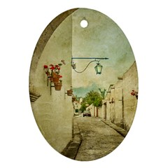 Vintage Grunge Print Arequipa Street, Peru Oval Ornament (two Sides)
