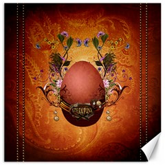 Wonderful Steampunk Easter Egg With Flowers Canvas 16  X 16  by FantasyWorld7