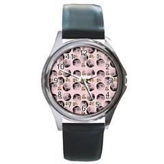 Vintage Girl With Flowers Pink Round Metal Watch