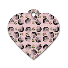 Vintage Girl With Flowers Pink Dog Tag Heart (one Side)