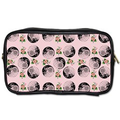 Vintage Girl With Flowers Pink Toiletries Bag (two Sides)
