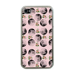 Vintage Girl With Flowers Pink Apple Iphone 4 Case (clear)