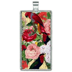 Tropical Bird Floral Rectangle Necklace