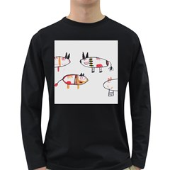 Children Children Drawing Flock Long Sleeve Dark T Shirt