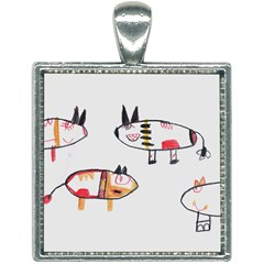 Children Children Drawing Flock Square Necklace by Pakrebo