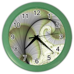 Graphic Fractal Eddy Curlicue Leaf Color Wall Clock