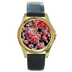 Fractals Colorful Pattern Round Gold Metal Watch