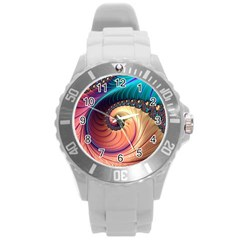 Fractal Multi Colored Fantasia Round Plastic Sport Watch (l)