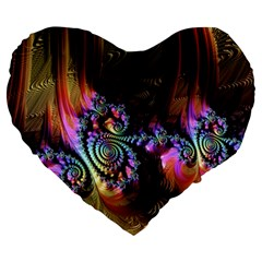 Fractal Colorful Background Large 19  Premium Flano Heart Shape Cushions