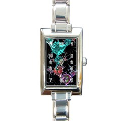 Fractal Colorful Abstract Aesthetic Rectangle Italian Charm Watch