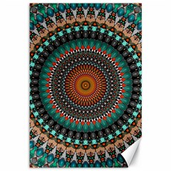 Ornament Circle Picture Colorful Canvas 12  X 18