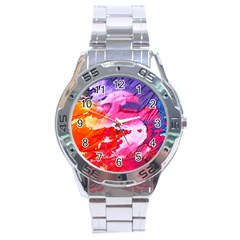 Abstract Art Background Paint Stainless Steel Analogue Watch by Pakrebo