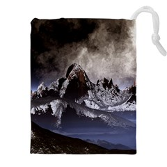 Mountains Moon Earth Space Drawstring Pouch (xxl)